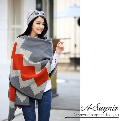 A-Surpriz 亮麗菱格雙面加長仿羊絨厚圍巾(灰系)