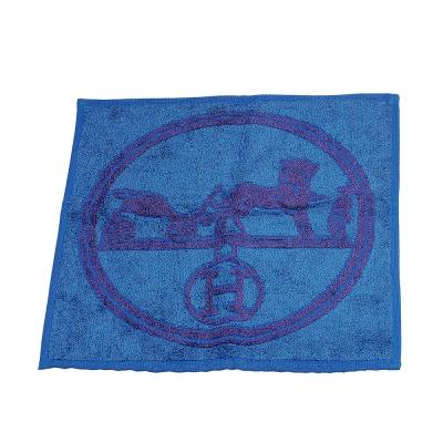 HERMES 愛馬仕馬車圖騰棉質口袋方巾/手帕(藍X紫)