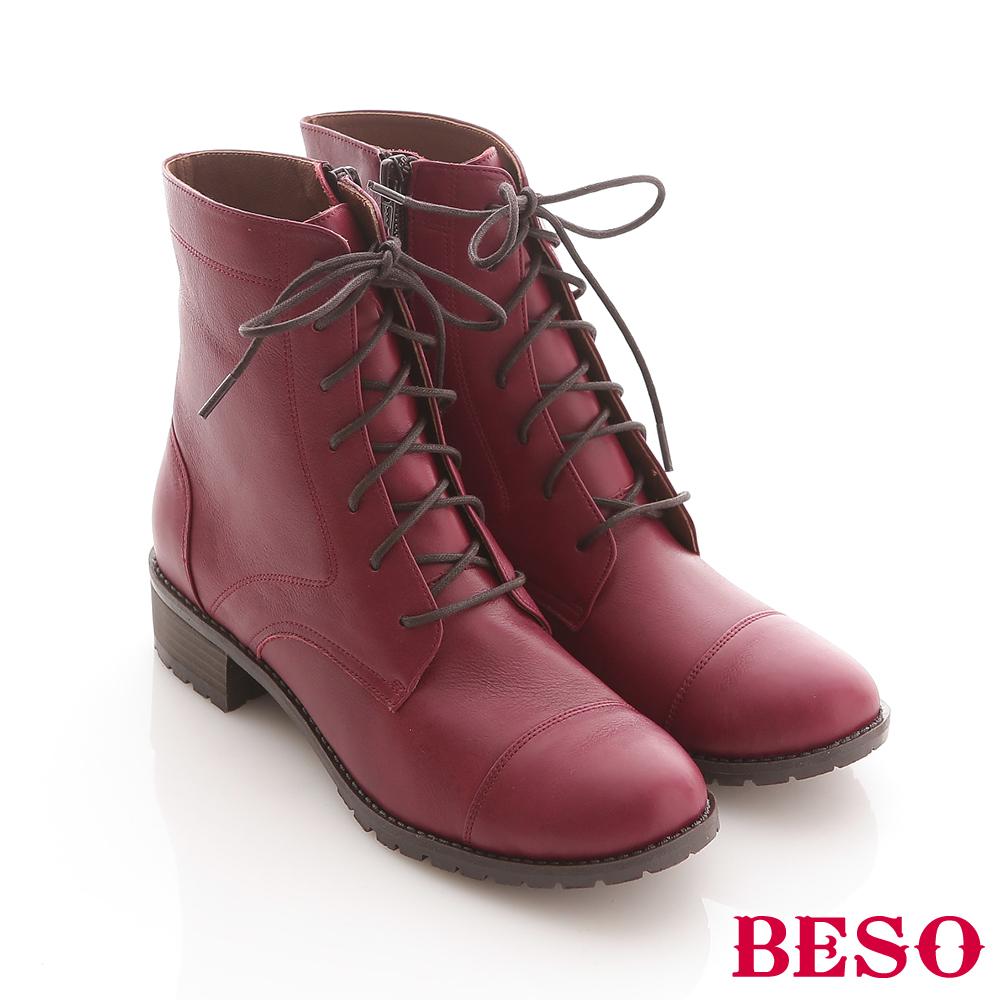 BESO搖滾個性-軟牛皮綁帶內側拉鏈馬汀款低筒靴-紅
