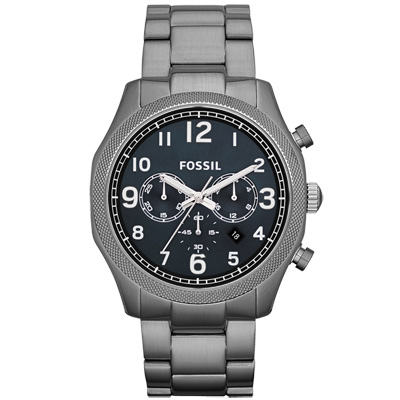 FOSSIL 鋼鐵力士三眼計時碼錶-鐵灰/45mm