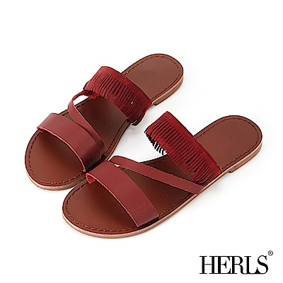 HERLS 民俗風線條鏤空流蘇平底拖鞋-酒紅色