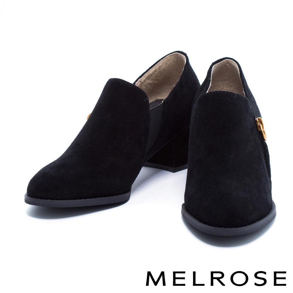 高跟鞋 MELROSE 簡約俐落牛麂皮舒適素面粗跟鞋-黑