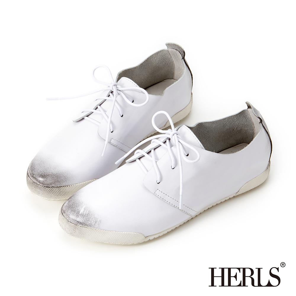 HERLS 全真皮仿舊刷色休閒鞋-白色