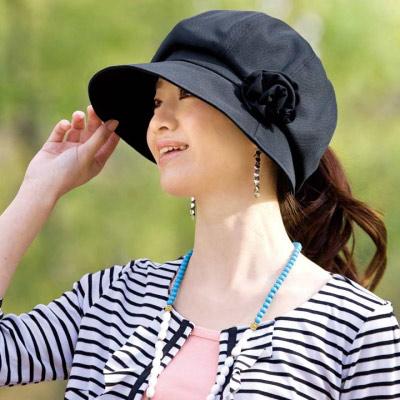【Sunlead】小顏效果。馬尾護髮美型抗UV圓頂防曬遮陽軟帽 (黑色)