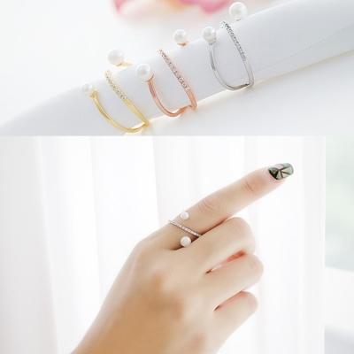 梨花HaNA-韓國皓石珍珠呢喃圈飾細緻戒指