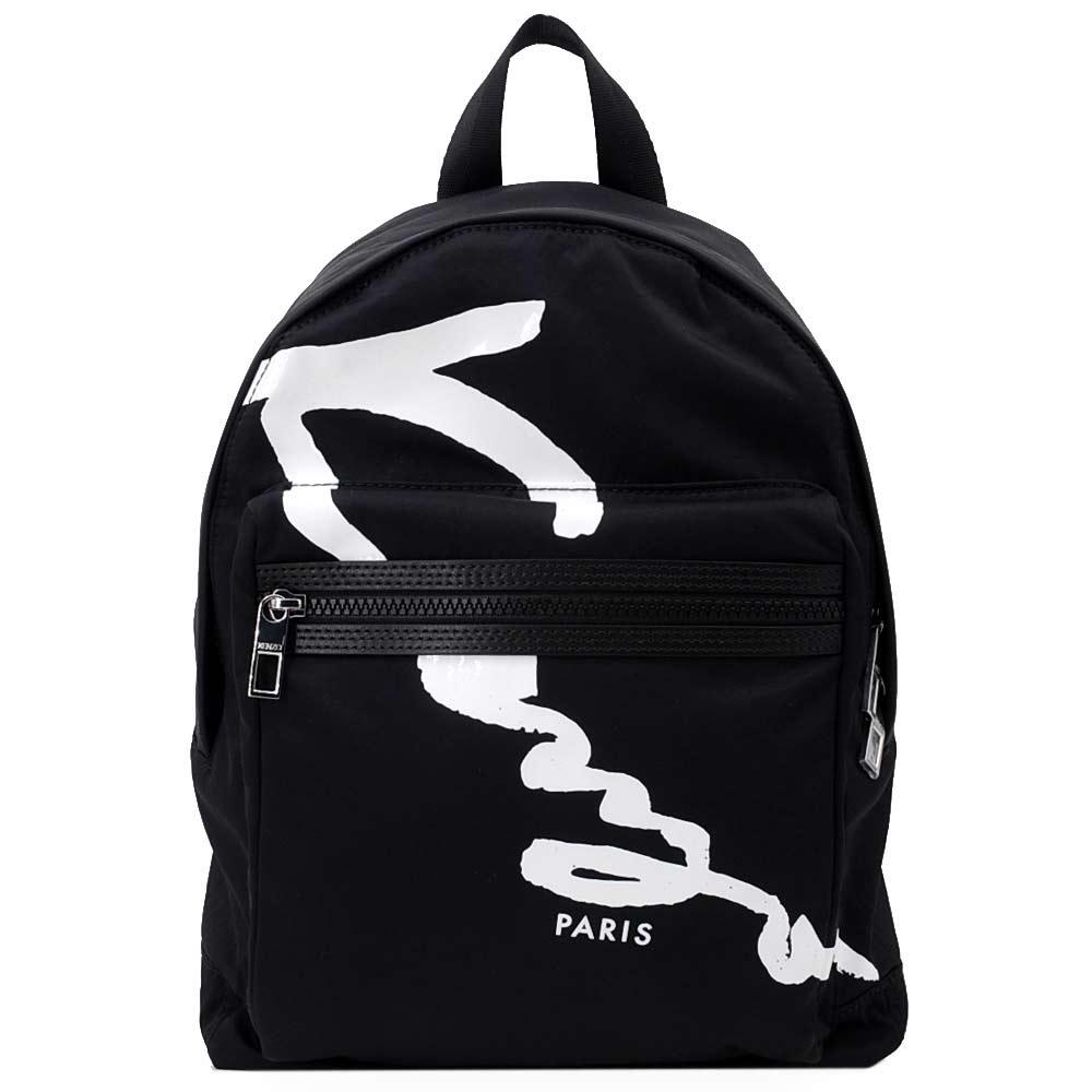 KENZO品牌圖騰簽名LOGO機能後背包黑中