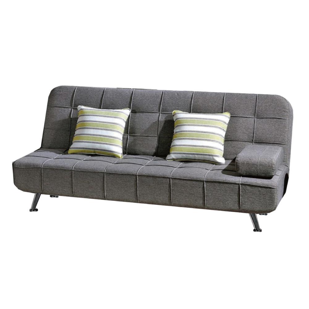 品家居 路易士灰棉麻布展開式沙發床-182x89x83cm-免組