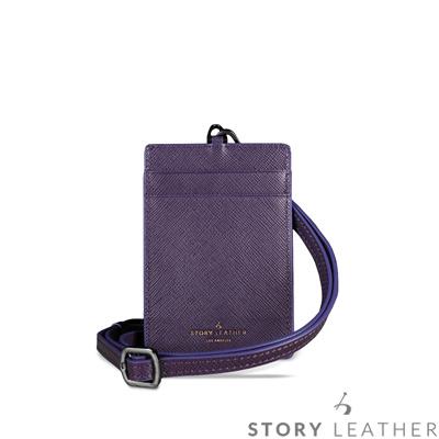 STORYLEATHER 牛皮證件夾 00469B-Y18 十字紋深紫