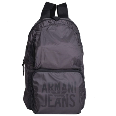 ARMANI JEANS 品牌圖騰LOGO尼龍超輕量後背包(灰)