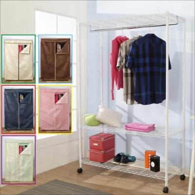 BuyJM鐵力士白烤漆強固型布套三層單桿衣櫥附輪120x45x185CM-DIY