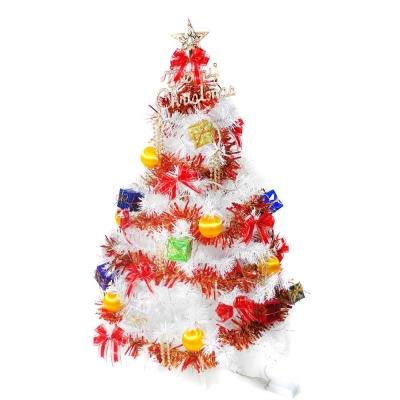 豪華版夢幻白色聖誕樹 紅彩禮物盒90cm(不含燈)