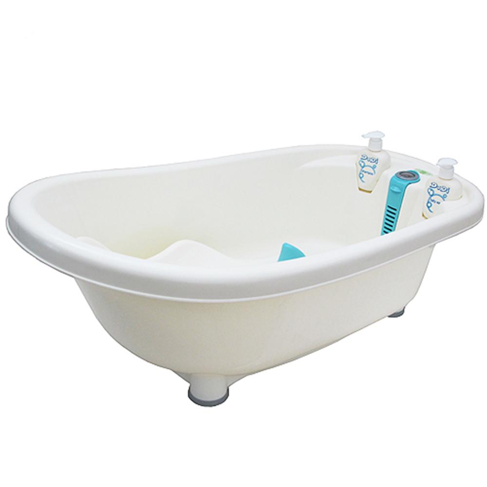 仿真測溫嬰幼兒浴缸洗澡盆浴盆附躺椅沐浴瓶(DB-6707)