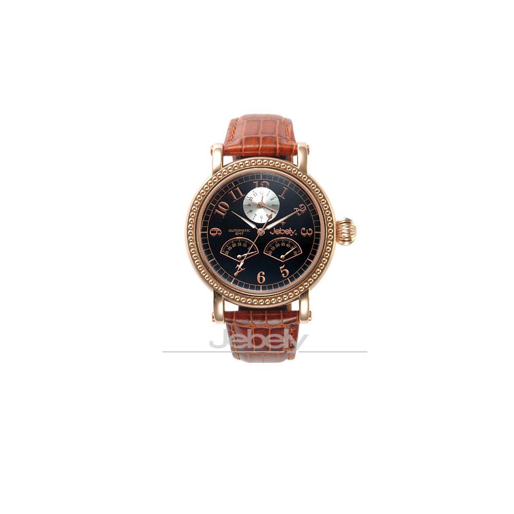 Jebely瑞士機械錶-盧加諾特區系列-雙扇造型飛返式秒針機械錶-黑/咖啡/41mm