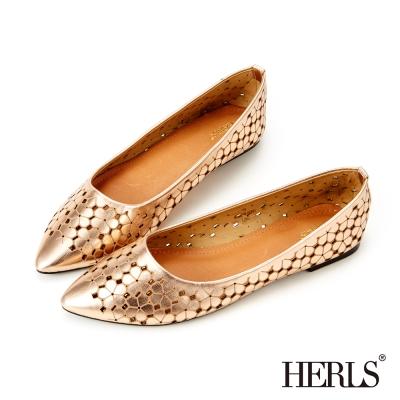HERLS-甜美時尚 雷射雕花尖頭平底鞋-香檳色