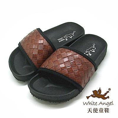 天使童鞋 個性時尚仿編織拖鞋(中-大童)J889 -咖
