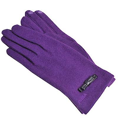 FURLA 品牌字母刺繡LOGO蝴蝶結造型可觸控手套(紫色)