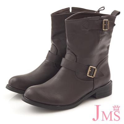 JMS-牛仔風側開口雙扣素面工程靴-咖啡色