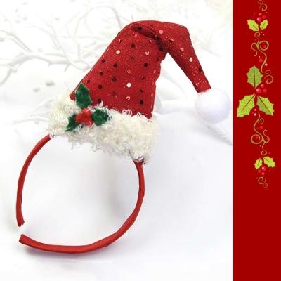 摩達客 小亮片紅聖誕帽髮箍