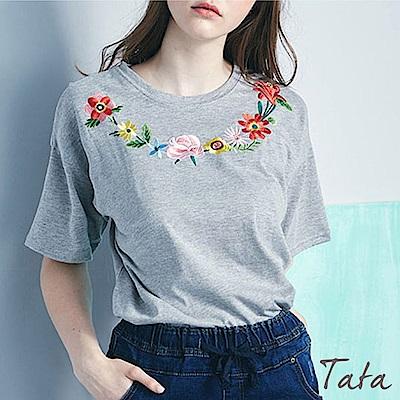 圓領刺繡花朵上衣 共三色 TATA