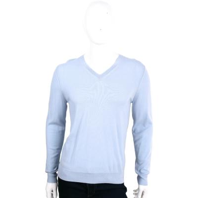 BURBERRY 淺藍色手肘格紋細節設計羊毛V領針織衫(100%WOOL)