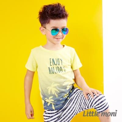 Little moni 島嶼度假漸層短袖棉T 黃色