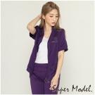 水鑽小雨傘文字圖案外套-紫色(F可選)    名模衣櫃