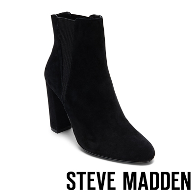 STEVE MADDEN-EFFECT 麂皮V形鬆緊粗高跟短靴-黑色
