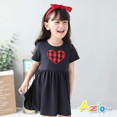 Azio Kids 童裝-洋裝 格紋愛心短袖洋裝(深藍)