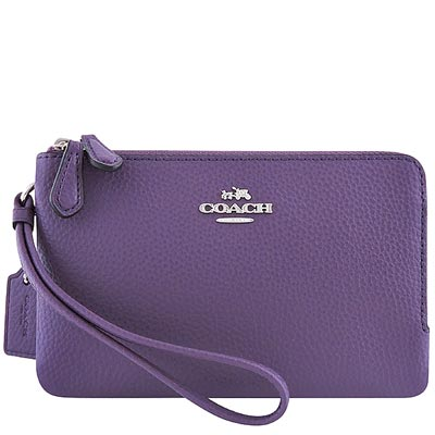 COACH 紫色馬車皮革壓紋雙層手拿包