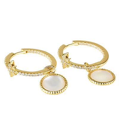 apm MONACO VALENTINE系列晶鑽鑲飾流星母貝設計金黃色純銀耳環(金)