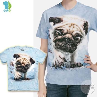 摩達客 美國進口The Mountain 水中巴哥犬 短袖T恤
