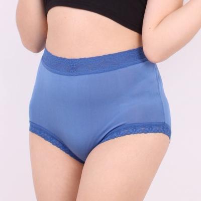 內褲 包覆頂級40針100%蠶絲高腰三角內褲 (藍) Chlansilk 闕蘭絹