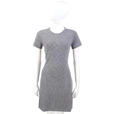 ALLUDE 灰色菱格紋鑽飾短袖針織洋裝