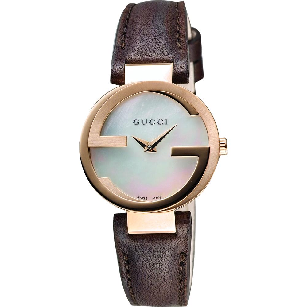 GUCCI Interlocking-G 時尚女錶-珍珠貝x咖啡/29mm