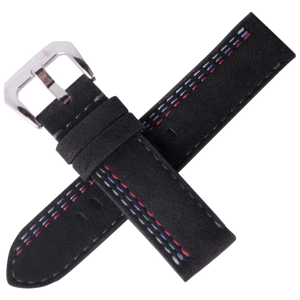 TED SU 太和錶帶賽車主題ALCANTARA錶帶沛納海大型錶代用黑色-22*22