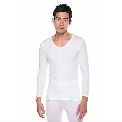 zuzai 自在發熱衣親膚羽感長袖保暖衣-男-白色