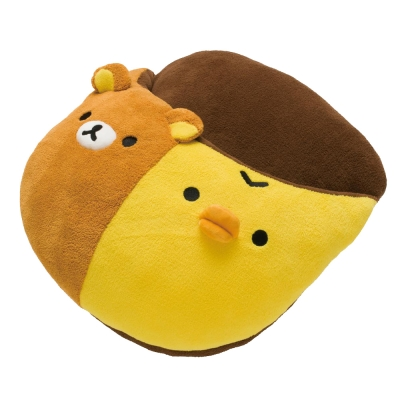 拉拉熊可愛生活系列毛絨保暖大拖鞋。懶熊+小雞