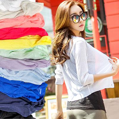 莫代爾純棉長版罩衫 (共六色)-N.C21