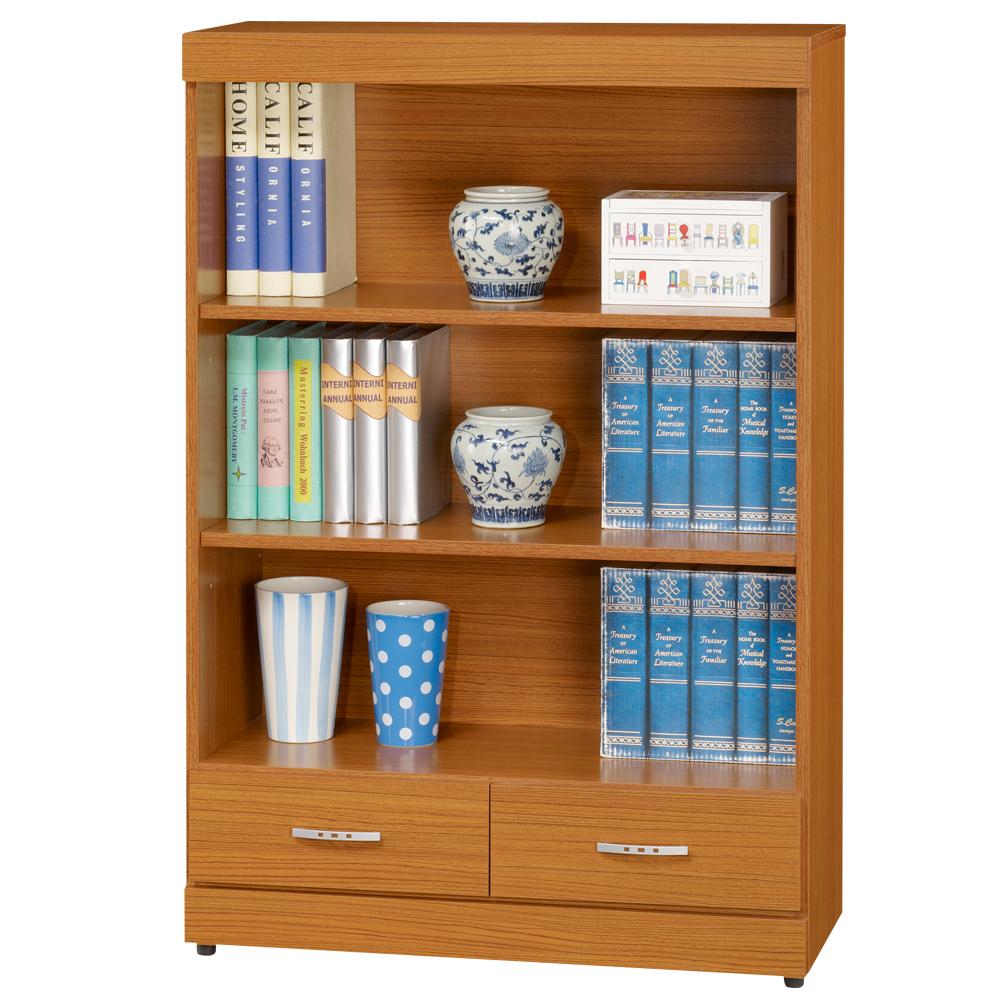 時尚屋 淺柚木3x4尺二抽開放書櫃 寬80cm