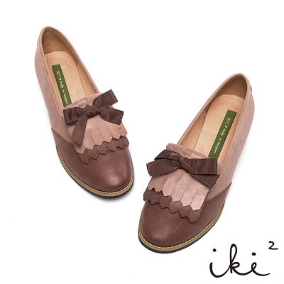iki2復古甜美-流蘇拼色蝴蝶結牛津鞋--粉嫩膚