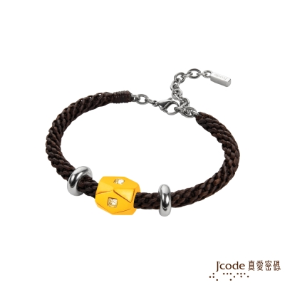 J code真愛密碼金飾 獨特黃金/蠟繩編織手鍊