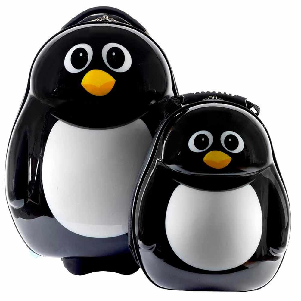 【英國cuties and pals】蛋型輕硬殼兒童專屬旅行箱+背包組(企鵝)