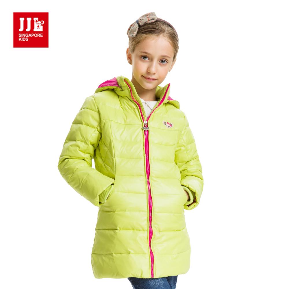 JJLKIDS 百搭素色長版羽絨外套(螢光綠)