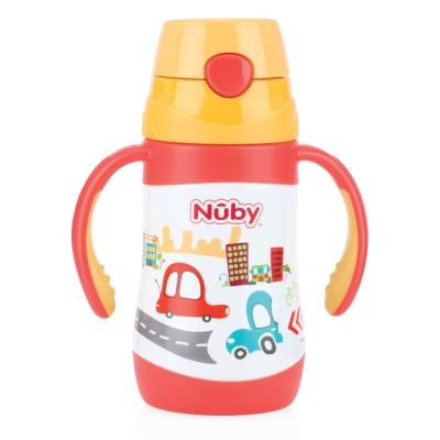 Nuby 幼兒不鏽鋼保溫杯/水壺280ml(雙耳把手/細吸管)-汽車(12M+)