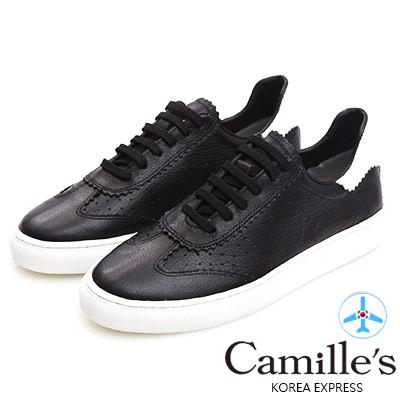 Camille's 韓國空運-正韓製-牛皮牛津雕花綁帶休閒鞋-黑色