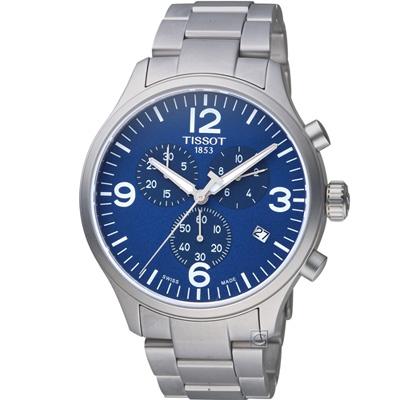 TISSOT天梭T-Sport系列 CHRONO XL時尚計時腕錶-藍/45mm
