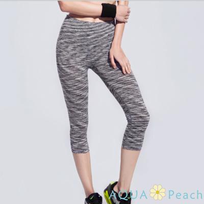 運動褲 緞染線條貼身七分運動褲 (黑色)-AQUA Peach