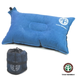 TreeWalker 舒適麂皮自動充氣枕頭- 藍色
