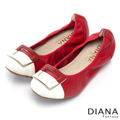 DIANA-超軟Q-俏麗撞色鬆緊帶真皮娃娃鞋-紅