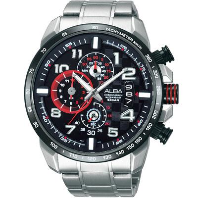 ALBA SignA 銀河爭霸三眼計時腕錶-黑x銀/47mm